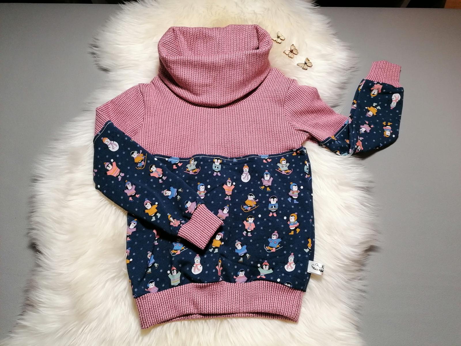 Kuschel-Hoodie Sweat-Pullover mit Kragen Rehe Altrosa