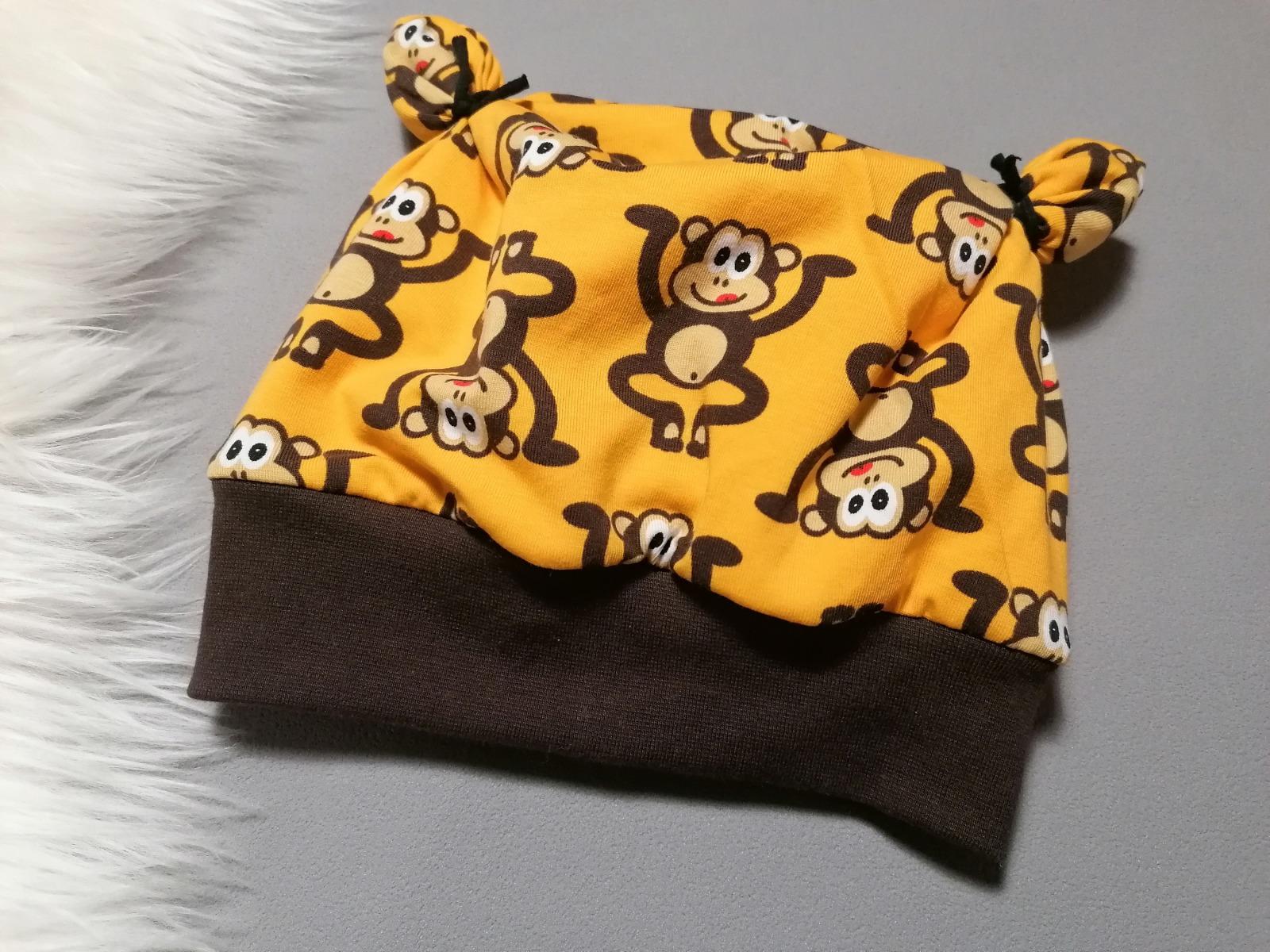 Baby Kind Ohrenmütze mit Bündchen Affen