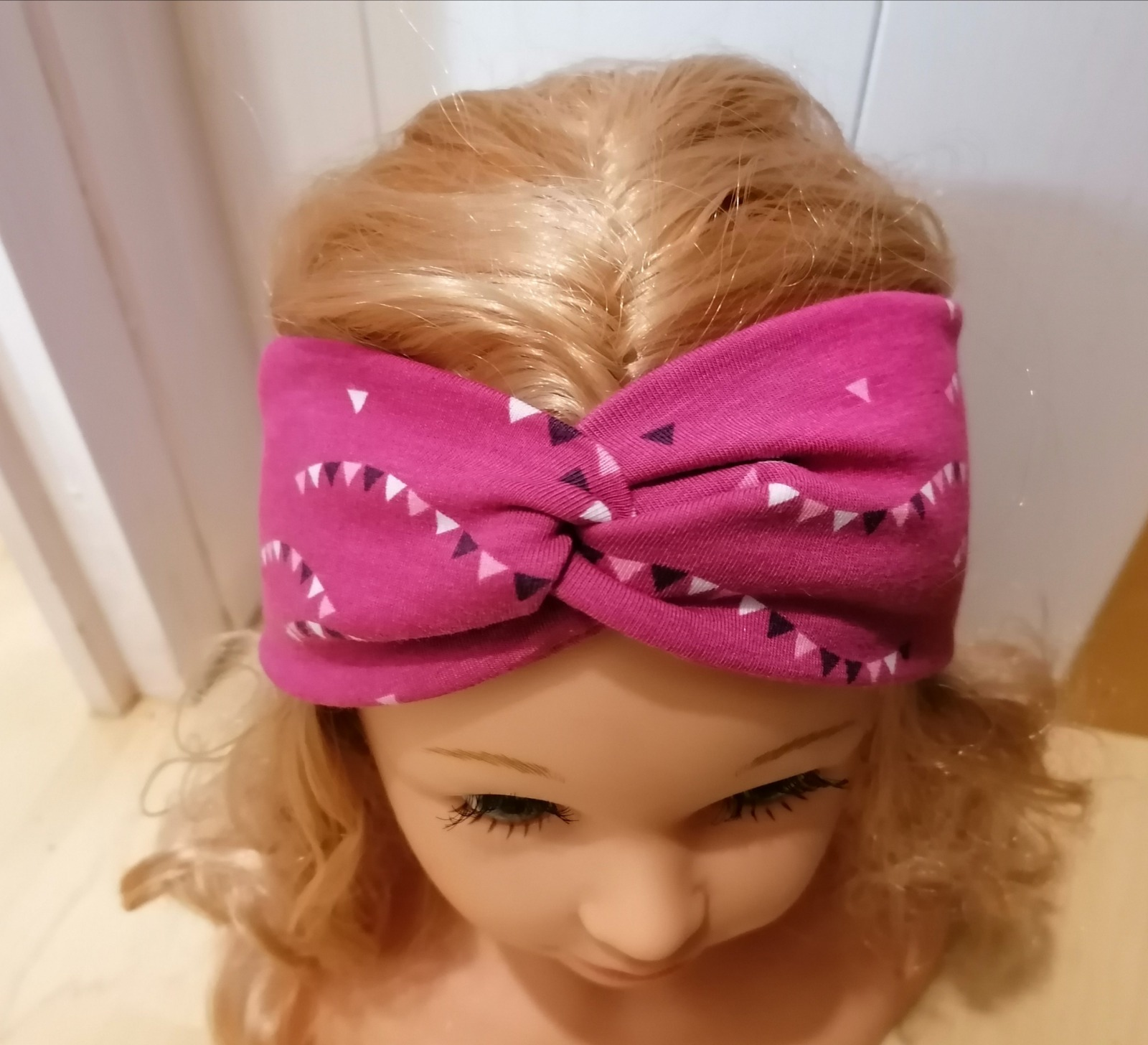 Bandeau Stirnband aus Jersey Wimpel beere