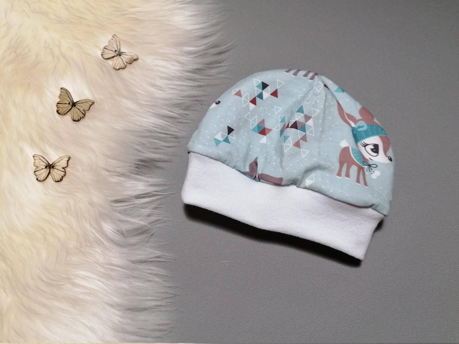 Babymütze Kindermütze mit Bündchen Winterkitz hellblau