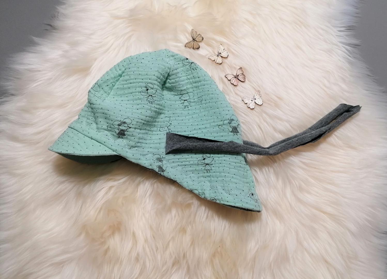 Baby Kind Schirmmütze aus Musselin Mäuse