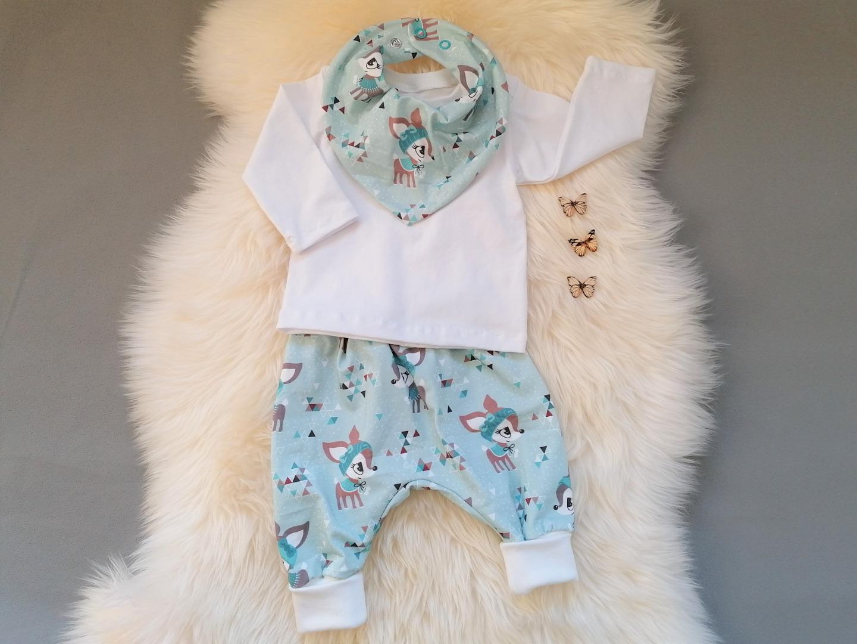Babyset für Mädchen 3-teilig Pumphose Shirt