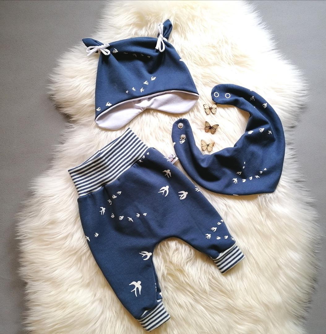 Babyset 3-teilig Pumphose Halstuch Ohrenmütze mit