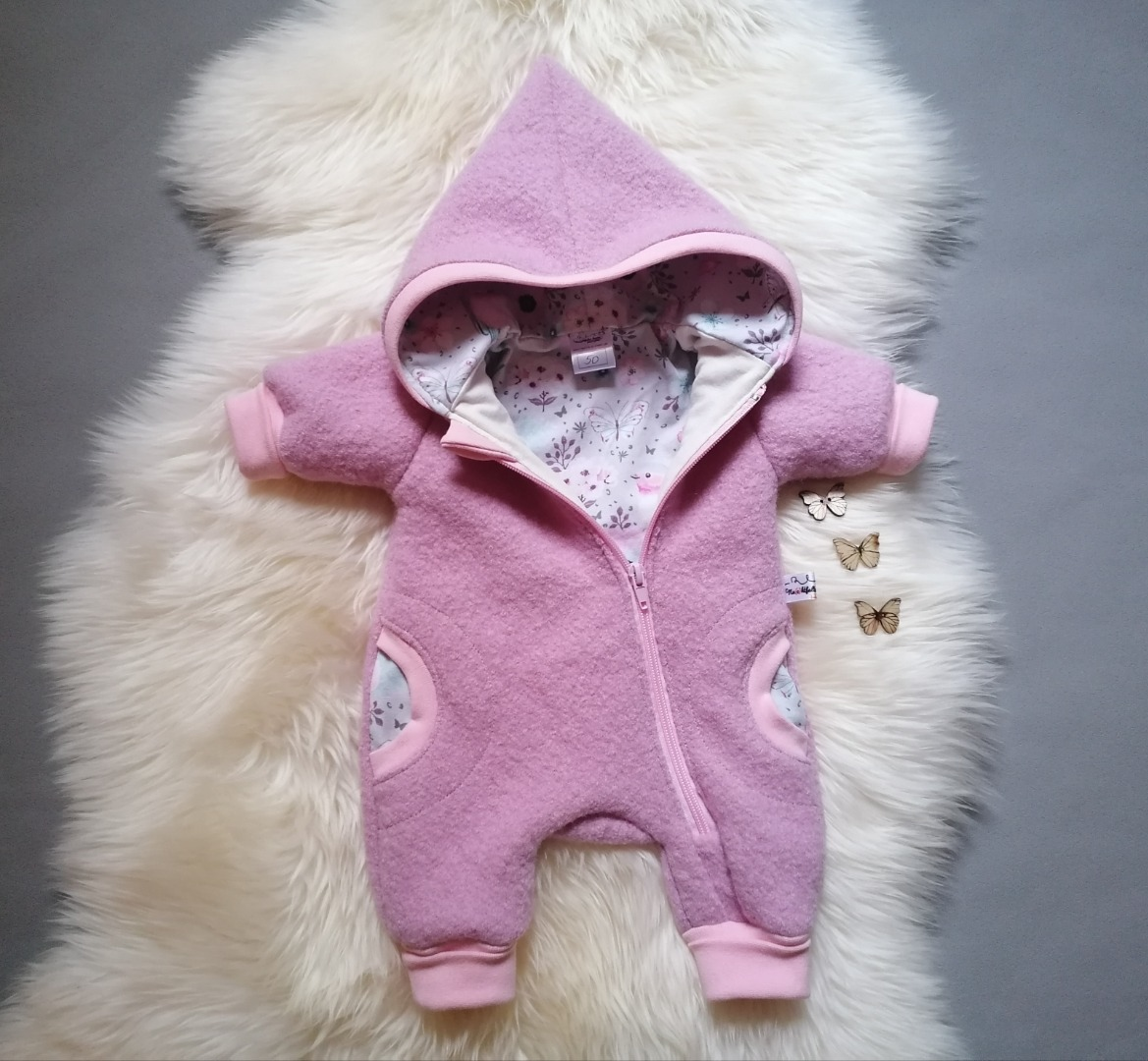 Baby Kind Walkoverall Petrol Hellblau Füchse