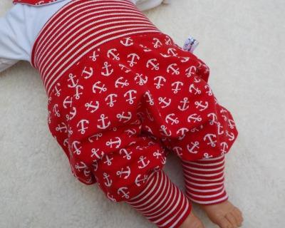 Baby Kind Mitwachshose Pumphose Anker rot