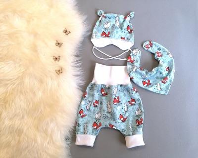 Babyset 3-teilig Pumphose Mütze Halstuch Füchse