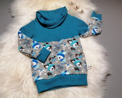 Kuschel-Hoodie Sweat-Pullover mit Kragen Winterkitz grau-türkis