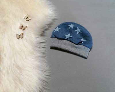 Mütze kopfnah mit Bündchen Vintage-Sterne blau