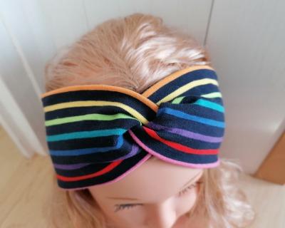 Bandeaux Stirnband Jersey Regenbogen-Streifen für Mädchen
