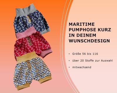Maritime kurze Pumphose Shorts Größe 56-116
