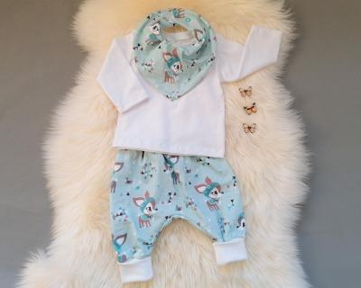 Babyset 3-teilig Hafenkitze hellblau weiß Pumphose