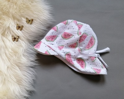 Baby Kind Schirmmütze aus Musselin Melonen