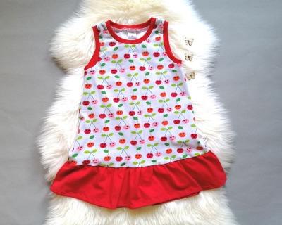 Baby Kind Trägerkleid mit Rüsche Kirschen