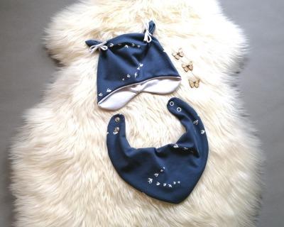 Babyset 2-teilig Halstuch und Ohrenmütze mit
