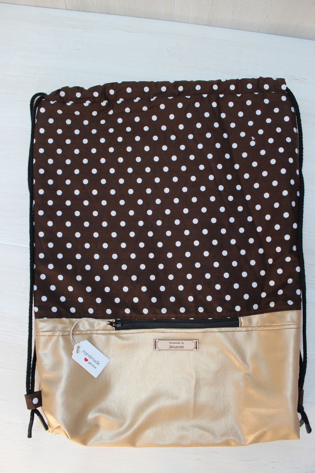 Turnbeutel Punkti mit Reißverschlusstasche 3