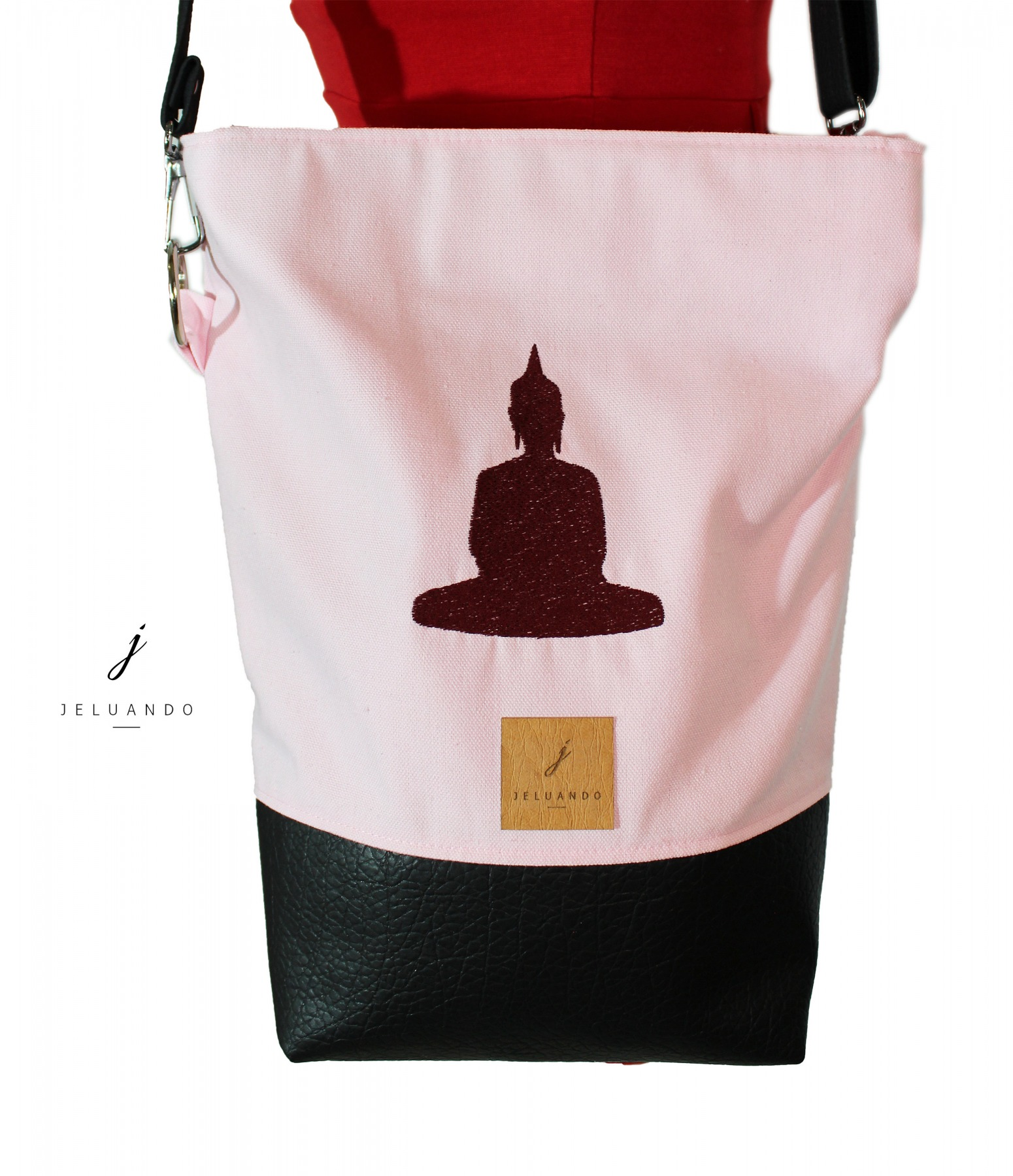 vegane Handtasche mit Stickmuster Buddha 2