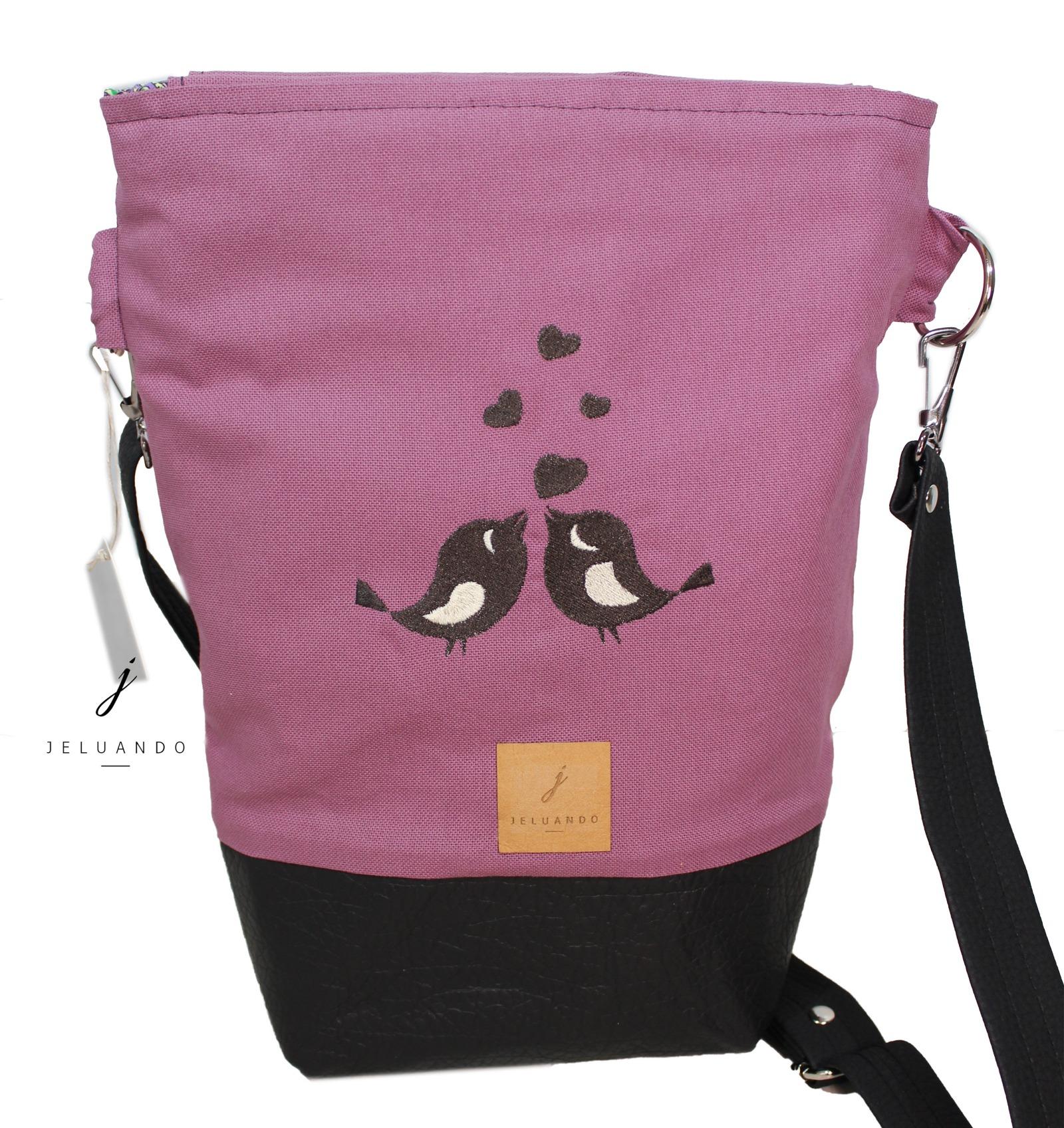 Handtasche mit Stickmuster Schwalbenkuss