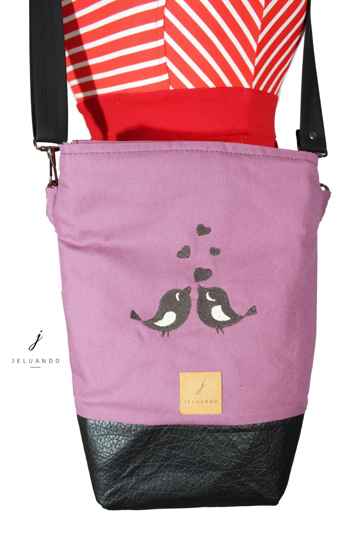 Handtasche mit Stickmuster Schwalbenkuss 2