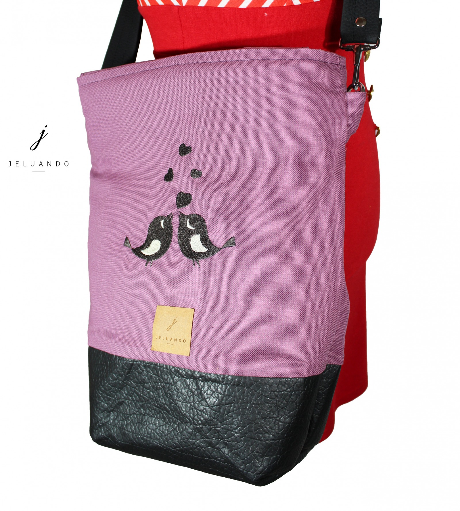 Handtasche mit Stickmuster Schwalbenkuss 3