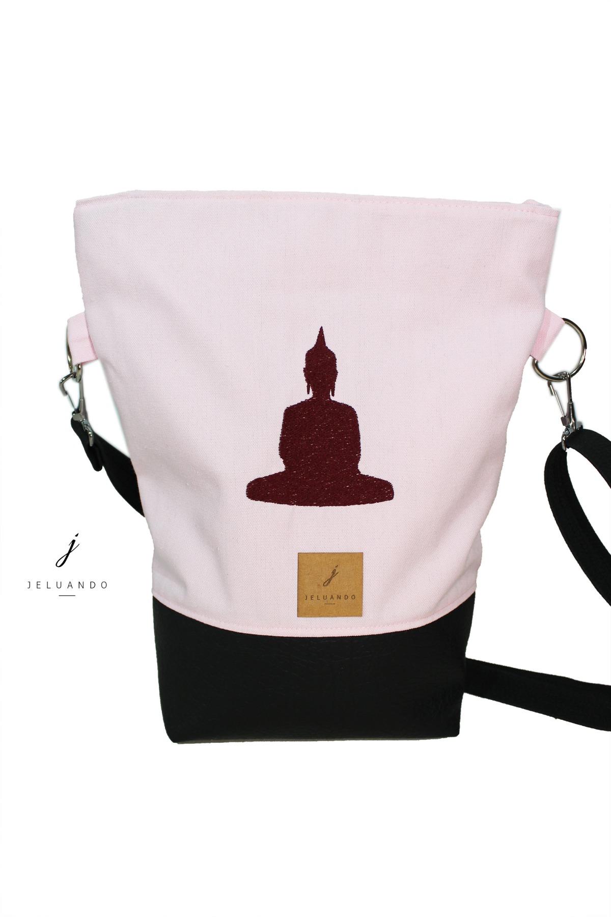 vegane Handtasche mit Stickmuster Buddha