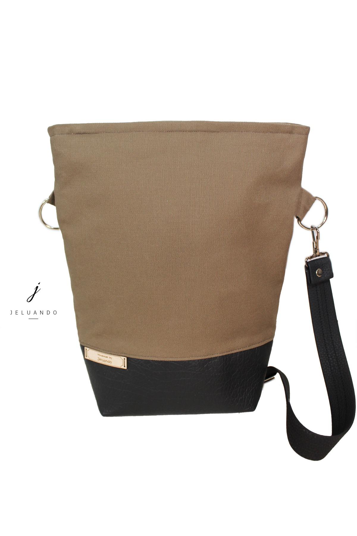 schlichte vegane Handtasche in Taupe 3