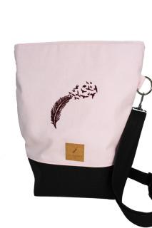 vegane Handtasche mit Stickmuster Feder Handtasche