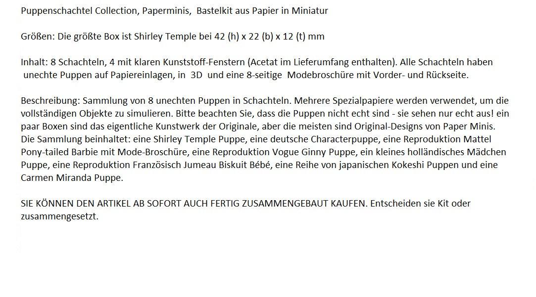 Puppenschachtel Collection Paperminis Bastelkit aus Papier