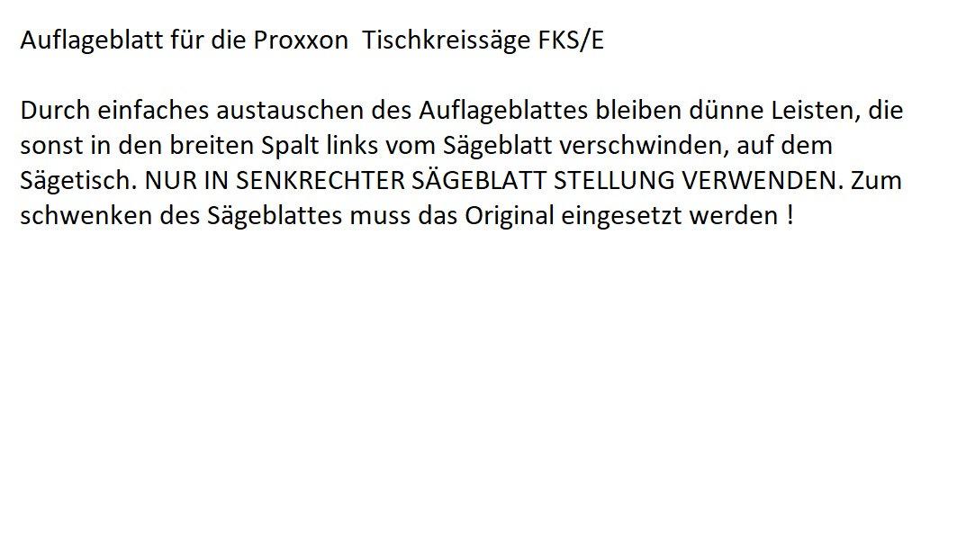 Auflageblatt für die Tischkreissäge FKS/E von