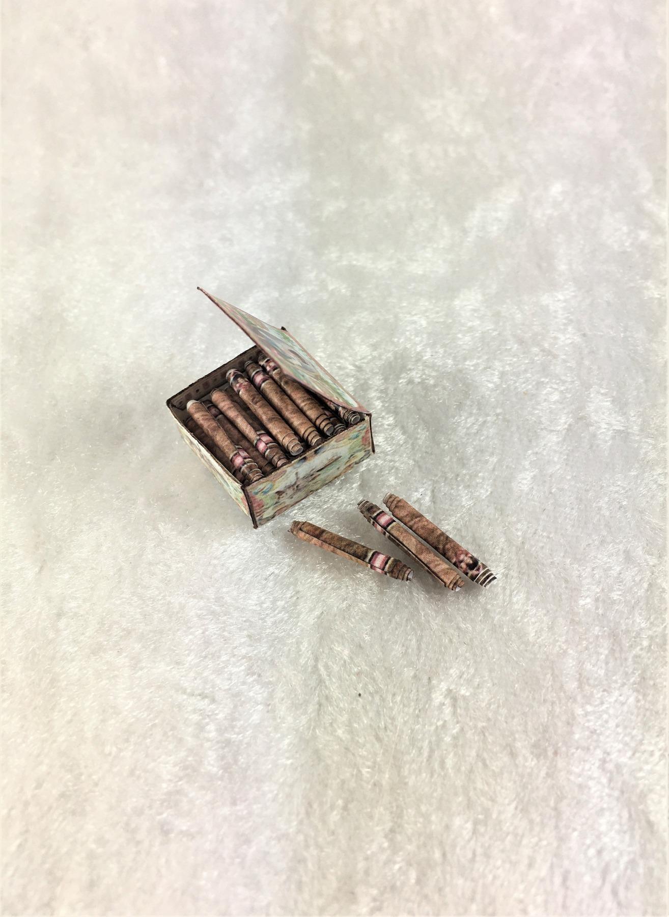 Zigarren in Kiste Paperminis Bastelkit aus