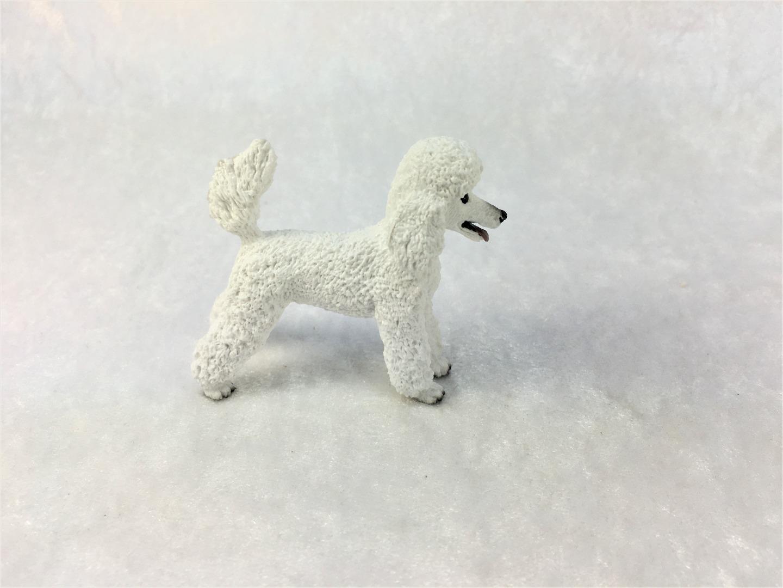 Weißer Königspudel in Miniatur 1:12 5