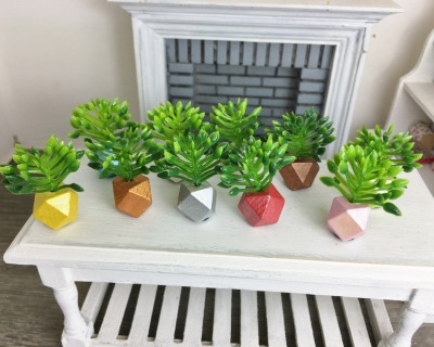 Grünpflanze in geometrischer Vase Miniatur in