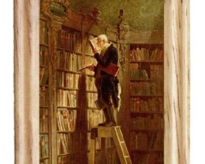 Gemäldekopie Bücherwurm cm im Holzrahmen für