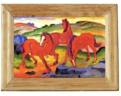 Gemäldekopie Rote Pferde cm im Holzrahmen