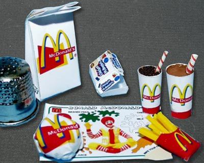 Fastfood Mc Donald Paperminis Bastelkit aus
