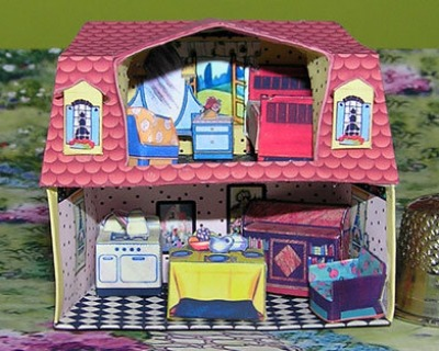 Art Deco Puppenhaus Bastelkit aus Papier