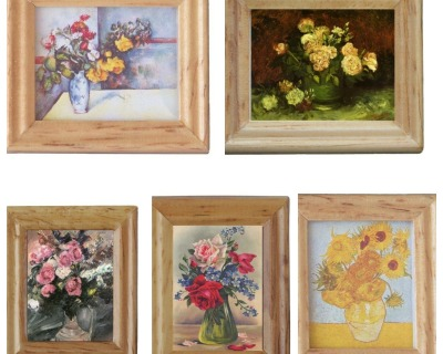 Gemäldekopien Blumen cm im Holzrahmen für