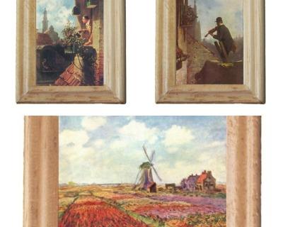 Gemäldekopien Spitzweg Monet cm im Holzrahmen