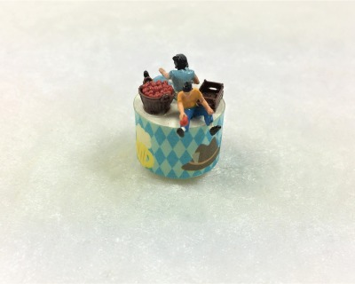 Spieluhr Motiv Apfelernte Spieldose in Miniatur