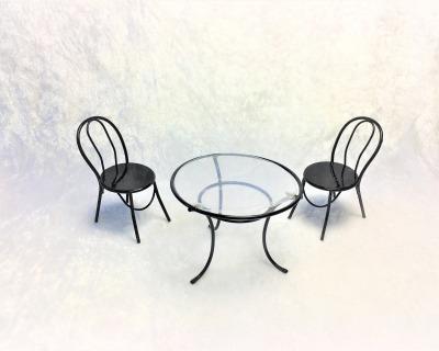 Runder Tisch mit zwei Stühlen aus