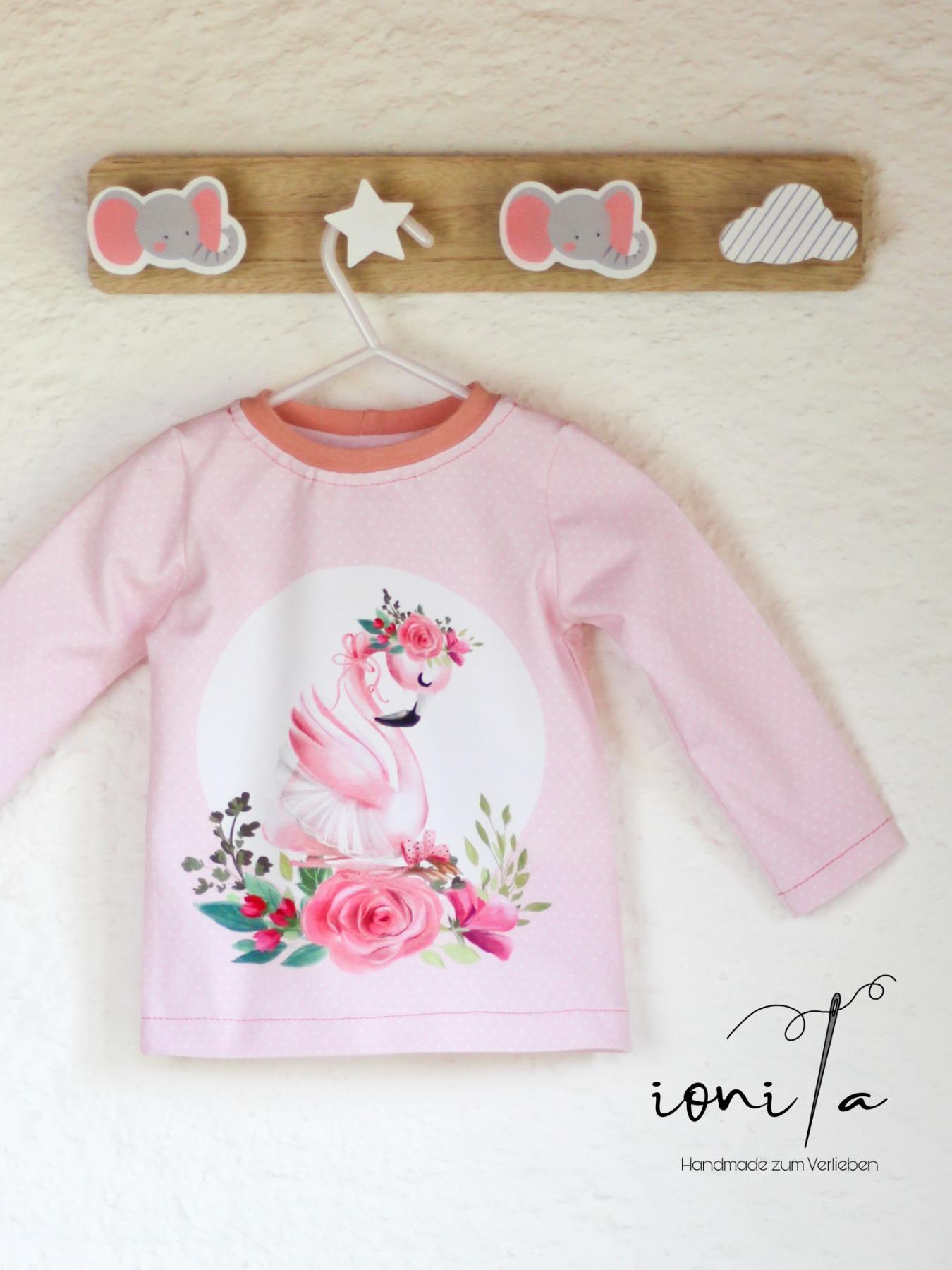 Sofortkauf Handmade Shirt Schwan Gr 80