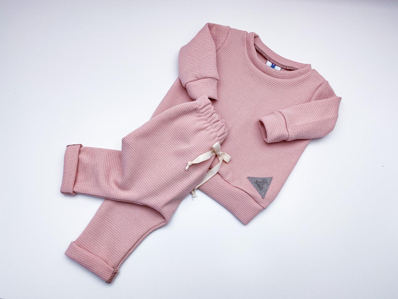 Sofortkauf Handmade Waffelstrick Jogger Pullover Set