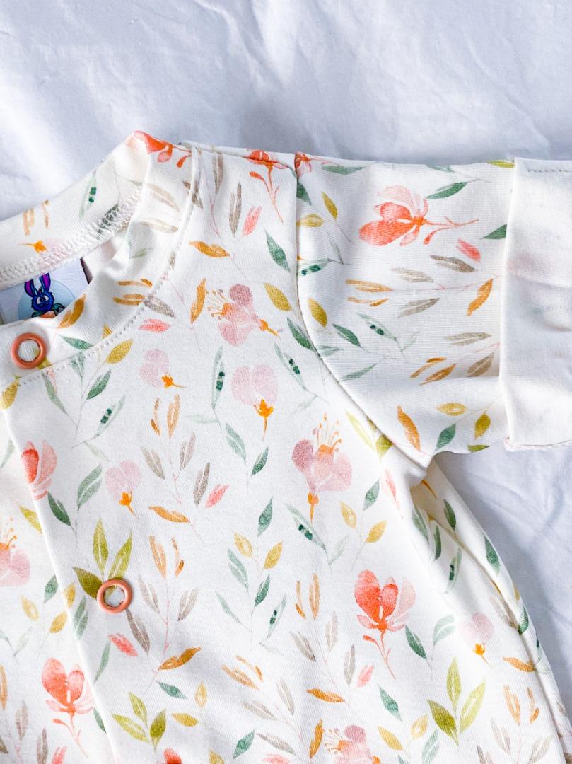 Handmade Strampler Gartenblüten Gr 62-74 3sew1