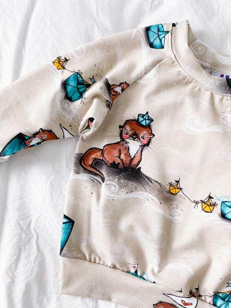Sofortkauf Handmade Raglanpullover Kleiner Otter Gr