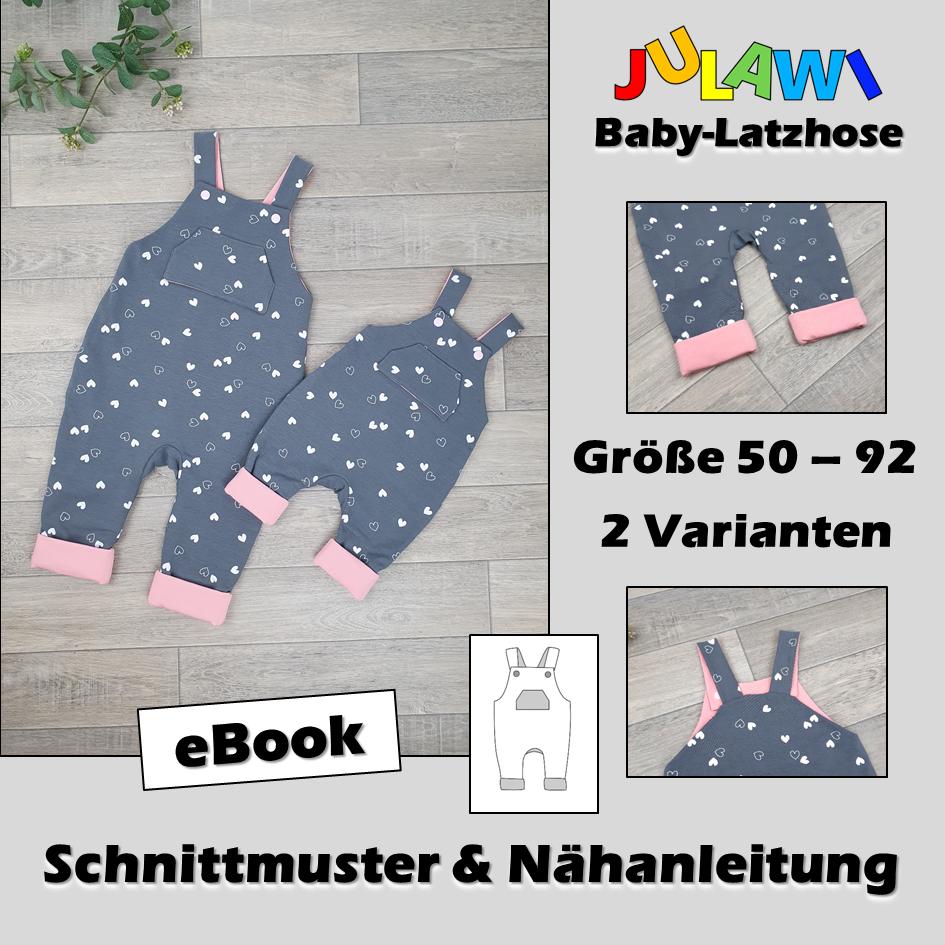 Schnittmuster/Nähanleitung Baby-Latzhose Gr 50 92 JULAWI