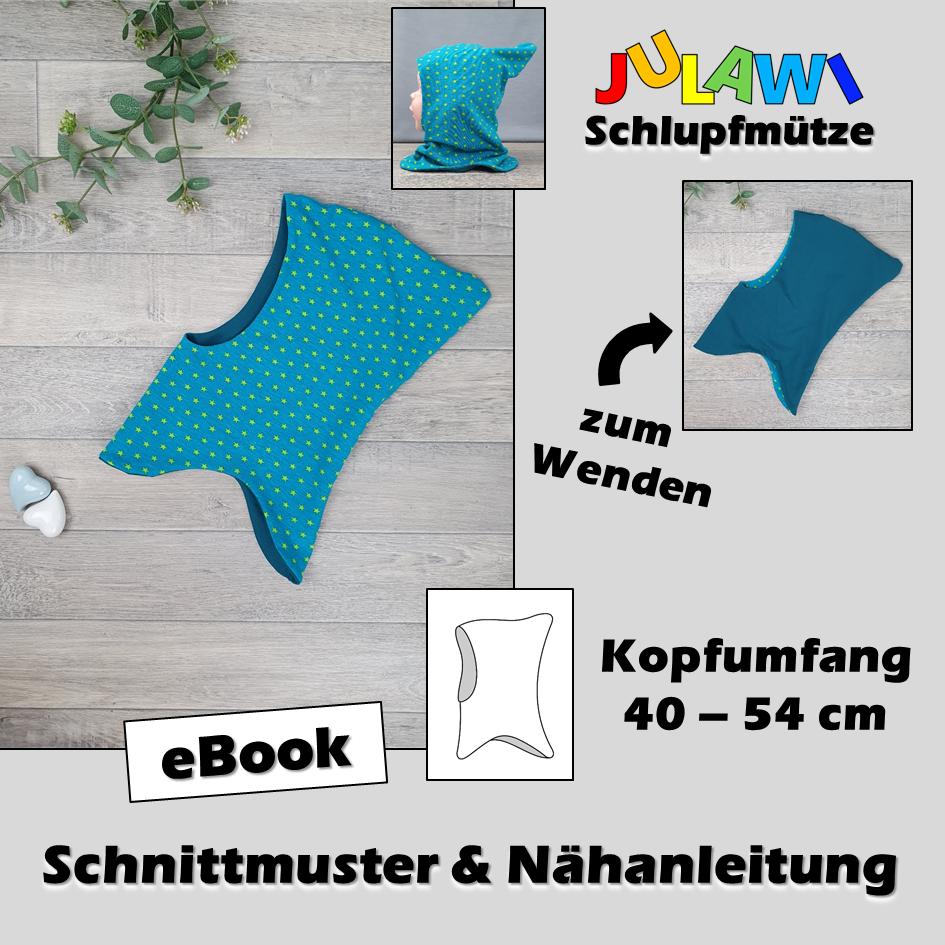 Schnittmuster/Nähanleitung Schlupfmütze KU 40-54 cm JULAWI