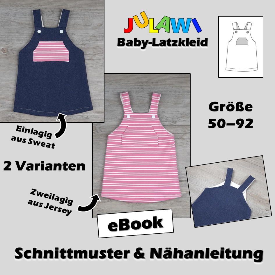 Schnittmuster/Nähanleitung Baby-Latzkleid Gr 50-92 JULAWI