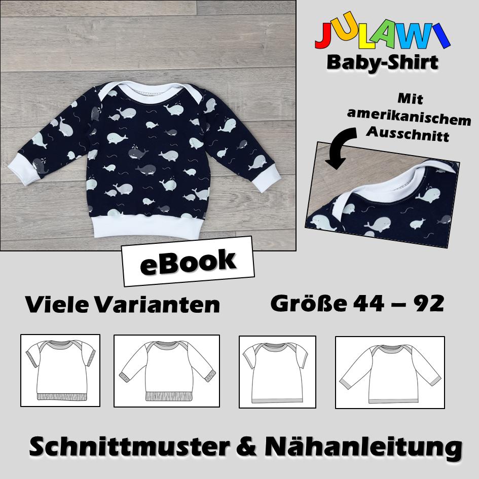 Schnittmuster/Nähanleitung Baby-Shirt Gr 44-92 JULAWI