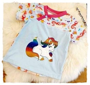 Sofortkauf Handmade T-Shirt Einhorn Gr 86/92