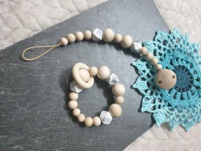 Sofortkauf Handmade Schnullerkette Greifling Klassik marmor