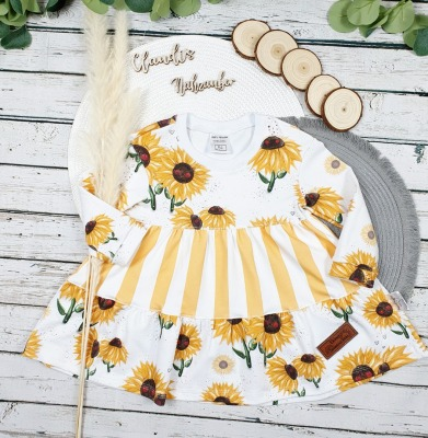 Sofortkauf Handmade Sonnenblumen Stufenkleid Gr Claudi s-Nähzauber